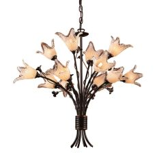 Fioritura 12 Light Chandelier In Deep Rust And Crystal Droplets