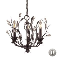 Circeo 3 Light Chandelier In Deep Rust And Crystal Droplets - Includes Recessed Lighting Kit