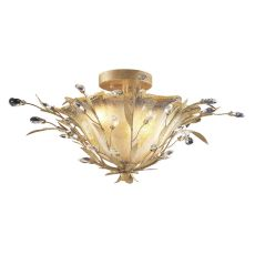 Circeo 2 Light Flushmount In Russet Beige And Caramel Glass