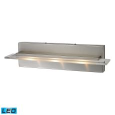 Linton 3 Light Led Vanity In Satin Nickel With Etched And Clear Glass