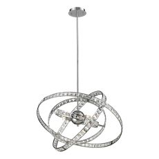 Saturn 6 Light Pendant In Chrome And Clear Crystal
