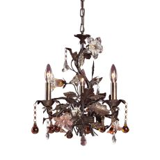 Cristallo Fiore 3 Light Chandelier In Deep Rust With Crystal Florets