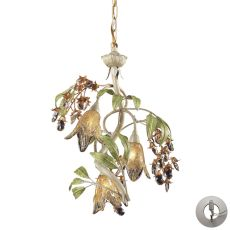 Huarco 3 Light Chandelier In Seashell And Green - Includes Recessed Lighting Kit