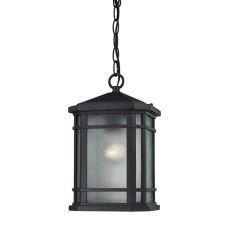 Lowell 1 Light Outdoor Pendant In Matte Black