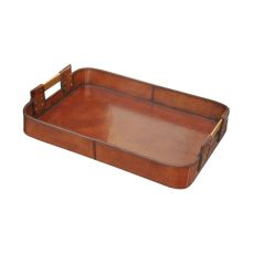 Small Leather Tray With Brass Handles, Brown