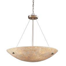 Stonybrook 6 Light Vanity In Satin Nickel And Pearl Stone Glass