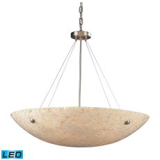 Stonybrook 8 Light Led Pendant In Satin Nickel And Pearl Stone Glass
