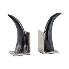 Abilene Natural Horn Bookends - Set Of 2, Natural, Nickel