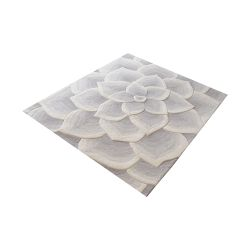 Kallista Handtufted Wool Rug In Grey And White - 16-Inch Square