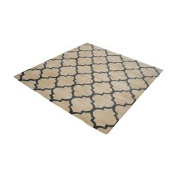 Wego Handwoven Printed Wool Rug In Natural And Black - 16-Inch Square