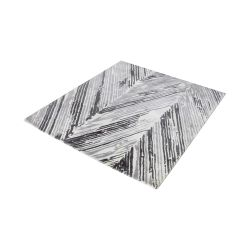 Rhythm Handwoven Printed Wool Rug In Grey And White - 6-Inch Square