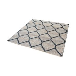 Econ Jacquard Weave Jute Rug In Natural And Black - 16-Inch Square