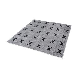 Eton Handwoven Cotton Flatweave Rug In Black And White - 16-Inch Square