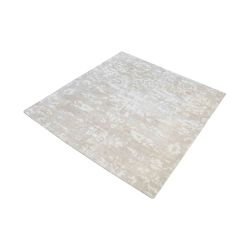 Senneh Handwoven Wool Printed Rug In Beige And White - 16-Inch Square
