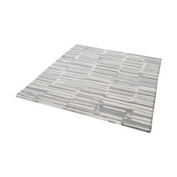 Slate Handtufted Wool Rug In Grey And White - 16-Inch Square