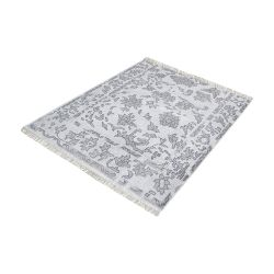 Harappa Handknotted Wool Rug In Grey - 16-Inch Square