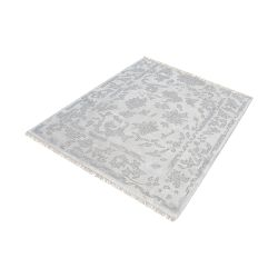 Harappa Handknotted Wool Rug In Silver And Ivory - 16-Inch Square