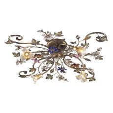 Brillare 4 Light Flushmount With Multicolor Crystal Florets
