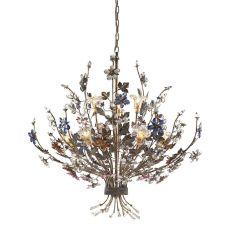 Brillare 9 Light Chandelier With Multicolor Crystal Florets