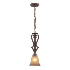Lawrenceville 1 Light Pendant In Mocha With Antique Amber Glass