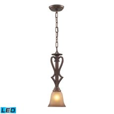 Lawrenceville 1 Light Led Pendant In Mocha With Antique Amber Glass