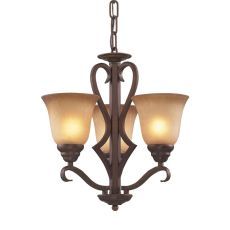 Lawrenceville 3 Light Chandelier In Mocha With Antique Amber Glass