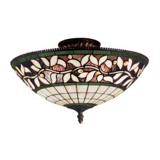 English Ivy 3 Light Semi Flush In Tiffany Bronze