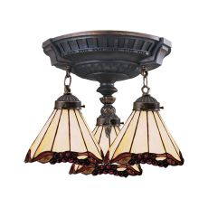 Mix-N-Match 3 Light Semi Flush In Aged Walnut And Honey Dune Glass