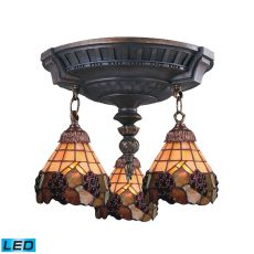 Mix-N-Match 3 Light Led Semi Flush In Aged Walnut And Stained Glass