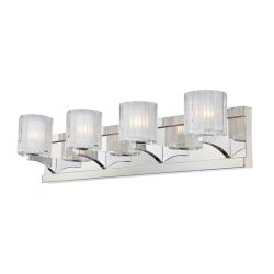 Tiara 4 Light Vanity In Chrome And Slotted Clear Glass