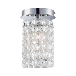 Queen  1 Light Flushmount In Chrome And Clear Crystal Glass