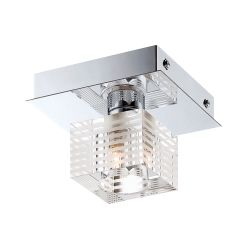 Quatra 1 Light Flushmount In Chrome And Clear Glass