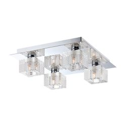 Quatra 4 Light Flushmount In Chrome And Clear Glass