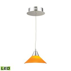 Cono 1 Light LED Pendant In Chrome With Yellow Glass