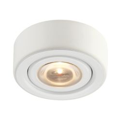 Eco 1 Lamp Led Puk Light In White With Clear Glass