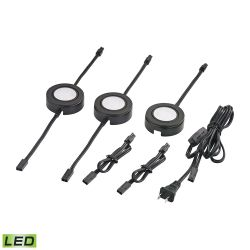 Tuxedo Swivel 3 Piece Led Undercabinet Light Set In Black