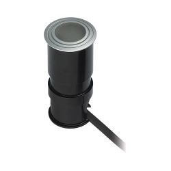 Wet Spot Led Button Light In Metallic Grey With Frosted Lens