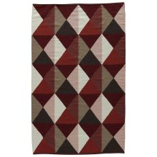 Flatweave Geometric Pattern Red/Gray Wool And Cotton Area Rug ( 8X11)