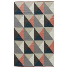 Youth Geometric Pattern Gray/Pink Wool And Cotton Area Rug ( 8X11)