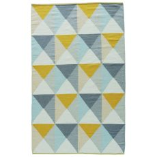 Youth Geometric Pattern Yellow/Blue Wool And Cotton Area Rug ( 8X11)
