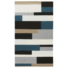 Youth Geometric Pattern Black/Blue Wool And Cotton Area Rug ( 8X11)