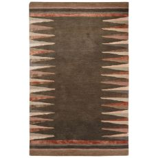 Contemporary Tribal Pattern Gray/Brown Wool And Viscose Area Rug (9X12)