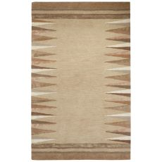 Contemporary Tribal Pattern Taupe/Ivory Wool And Viscose Area Rug (9X12)