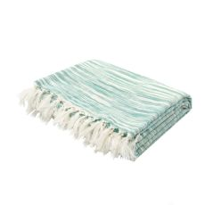 """Soft Hand Stripe Pattern Green Cotton Throw - (50""""x60"""")"""