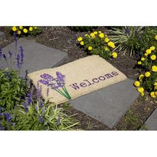 Lavender Welcome Handwoven Coconut Fiber Doormat