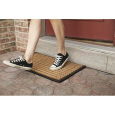 Striped Recycled Rubber and Coir Doormat