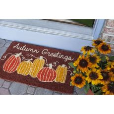 Autumn Greetings Handwoven Coconut Fiber Doormat