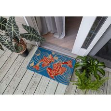 Koi Fish Handwoven Coconut Fiber Doormat