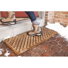 Rectangle Stripes 18x42 Wire Brush Doormat