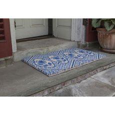 WILLIAMSBURG Delft Flowers Handwoven Coconut Fiber Doormat